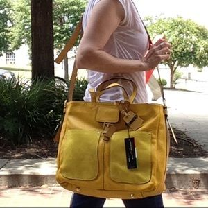 Vivid Yellow Large Leather Purse A. Bellucci NEW